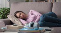 tired woman fatigued sofa sleep yndj